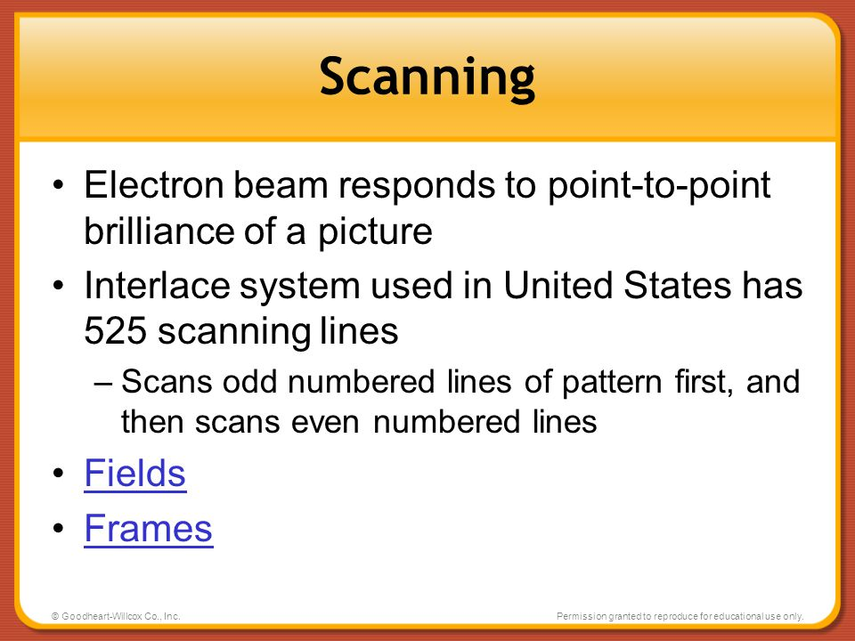 Scanning Electron beam responds to point-to-point brilliance of a picture. Interlace system used in United States has 525 scanning lines.