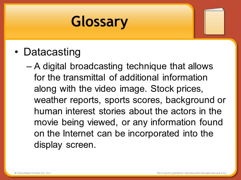 Glossary Datacasting.