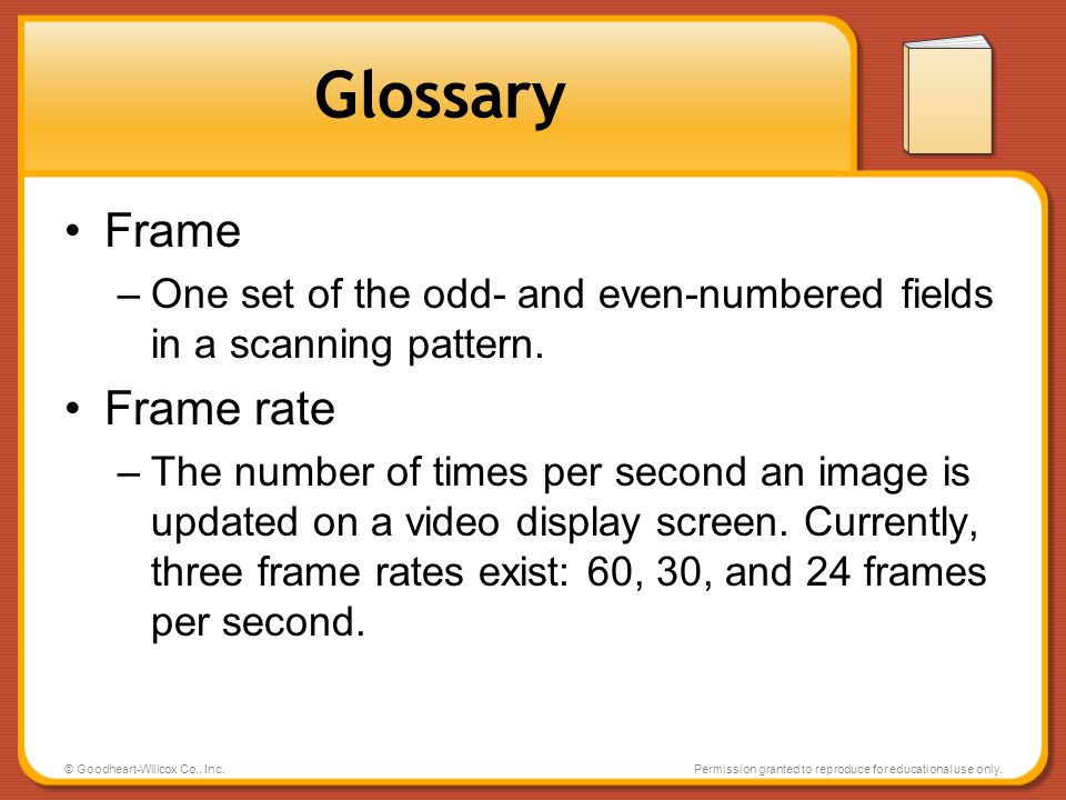 Glossary Frame Frame rate