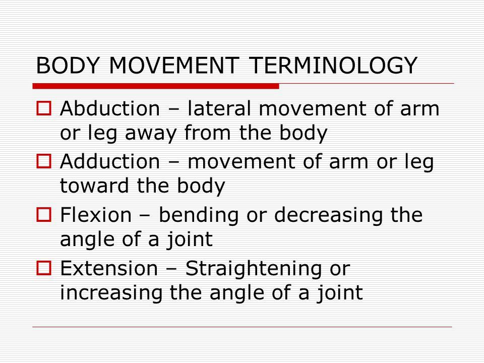 BODY MOVEMENT TERMINOLOGY