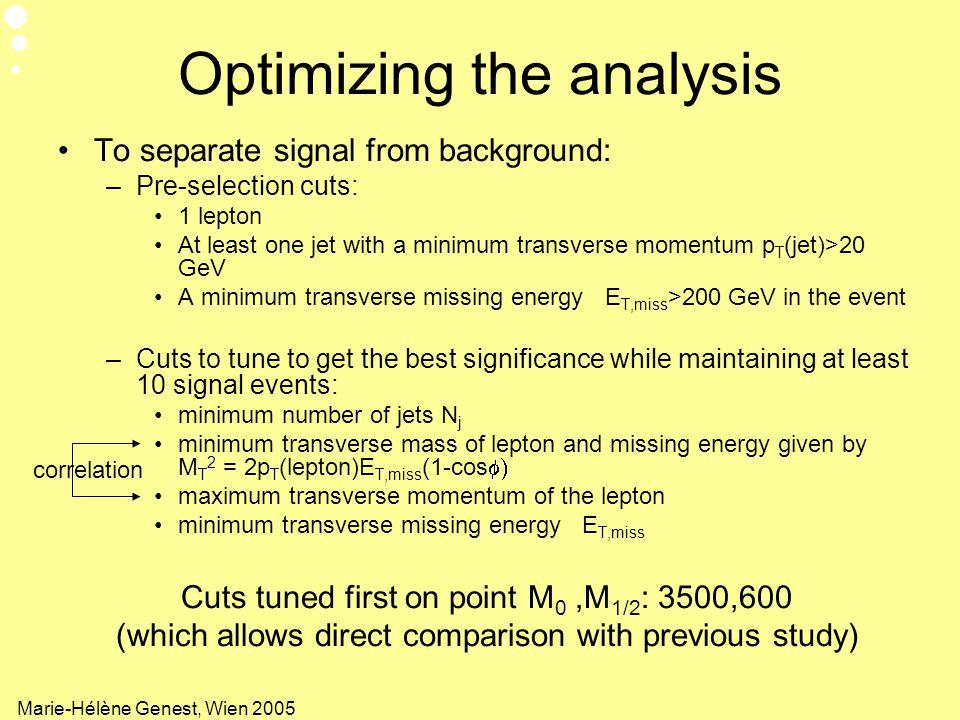Optimizing the analysis