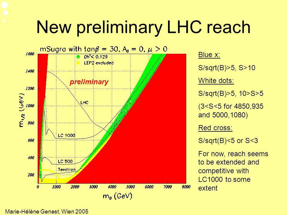New preliminary LHC reach