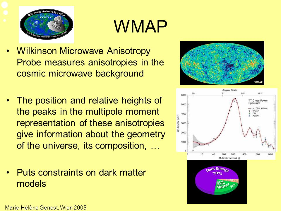 WMAP Wilkinson Microwave Anisotropy Probe measures anisotropies in the cosmic microwave background.