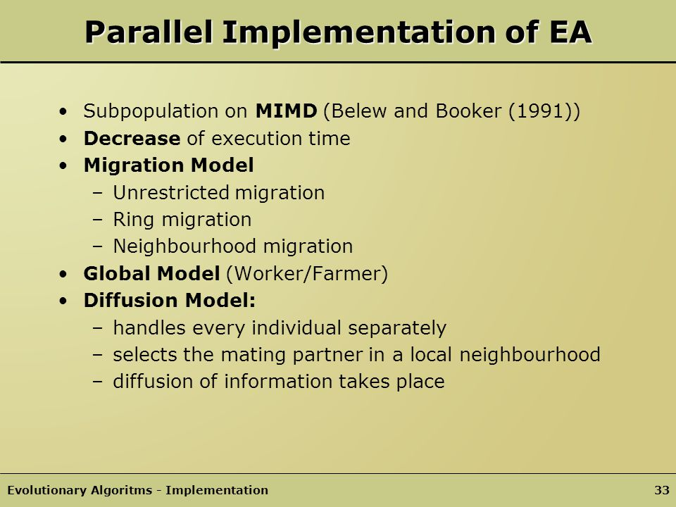 Parallel Implementation of EA