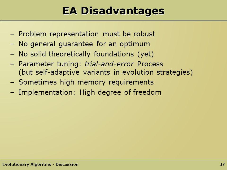 EA Disadvantages Problem representation must be robust