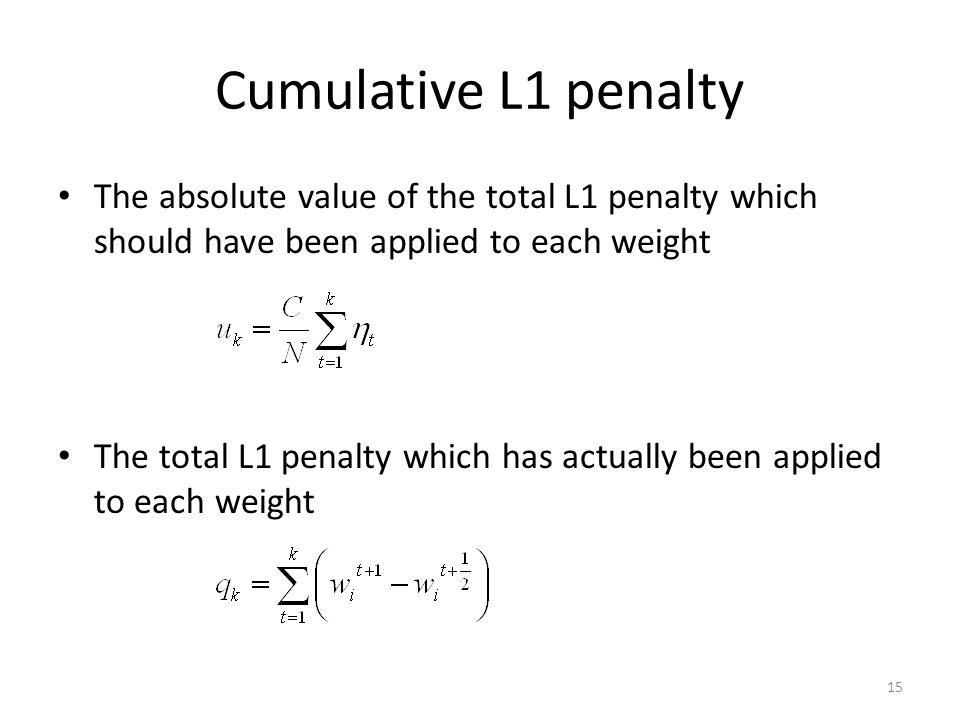 Cumulative L1 penalty The absolute value of the total L1 penalty which should have been applied to each weight.