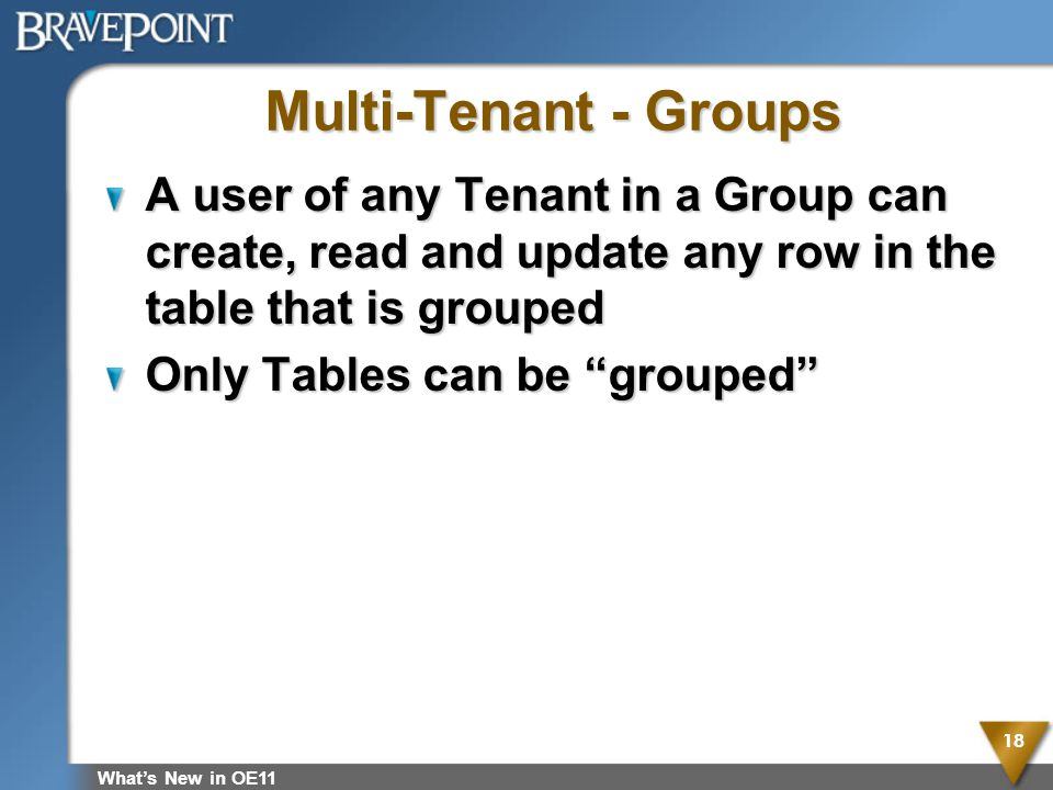 Multi-Tenant - Groups A user of any Tenant in a Group can create, read and update any row in the table that is grouped.