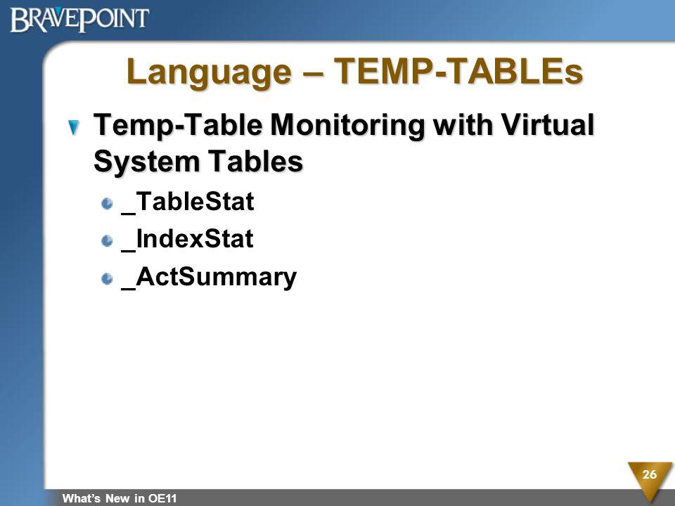 Language – TEMP-TABLEs