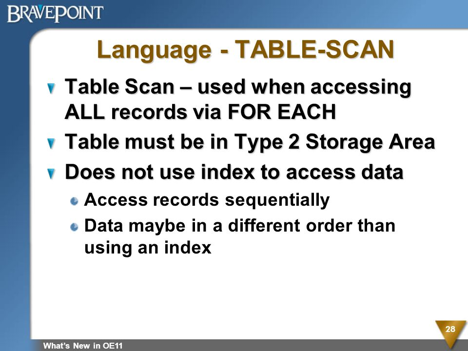 Language - TABLE-SCAN Table Scan – used when accessing ALL records via FOR EACH. Table must be in Type 2 Storage Area.