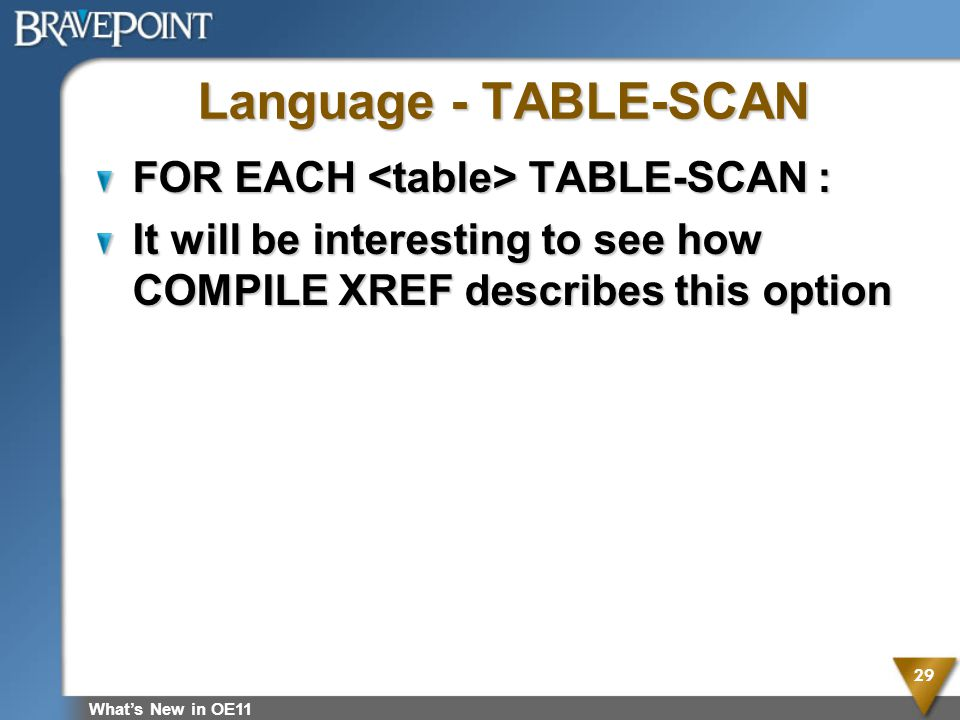 Language - TABLE-SCAN FOR EACH <table> TABLE-SCAN :