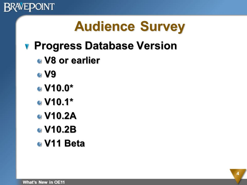 Audience Survey Progress Database Version V8 or earlier V9 V10.0*