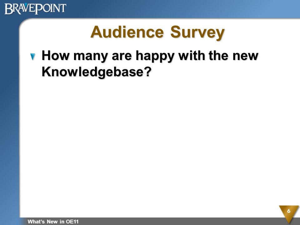 Audience Survey How many are happy with the new Knowledgebase
