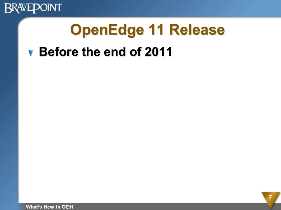 OpenEdge 11 Release Before the end of 2011 What's New in OE11
