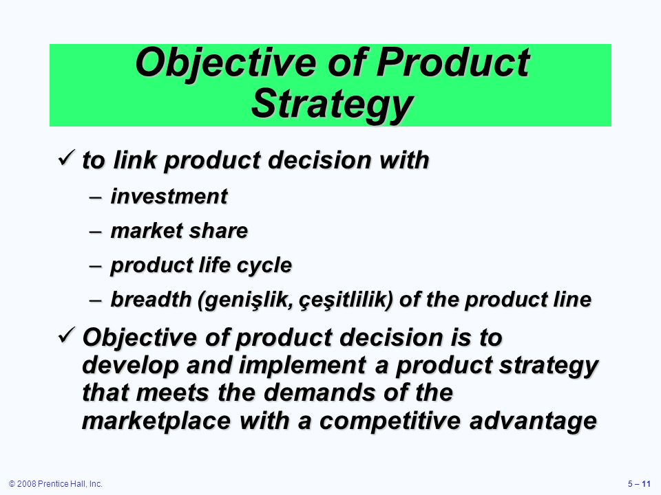 Objective of Product Strategy