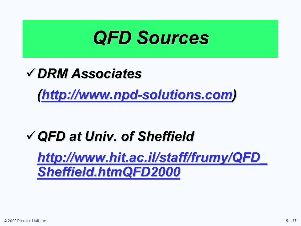 QFD Sources DRM Associates (http://www.npd-solutions.com)