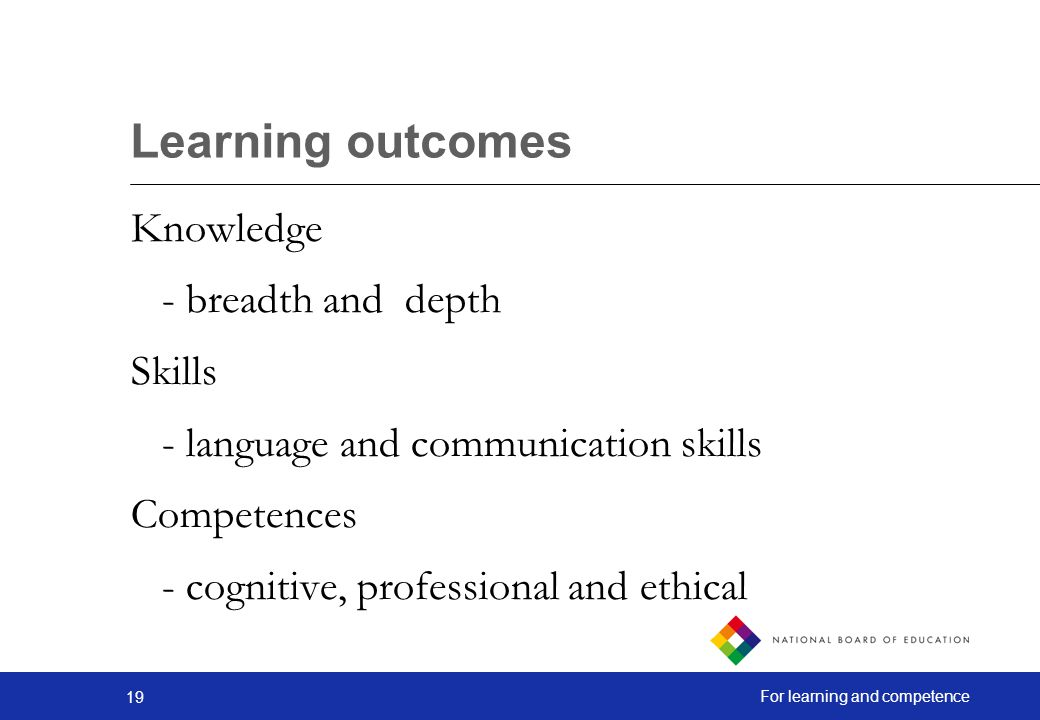 Learning outcomes Knowledge - breadth and depth Skills