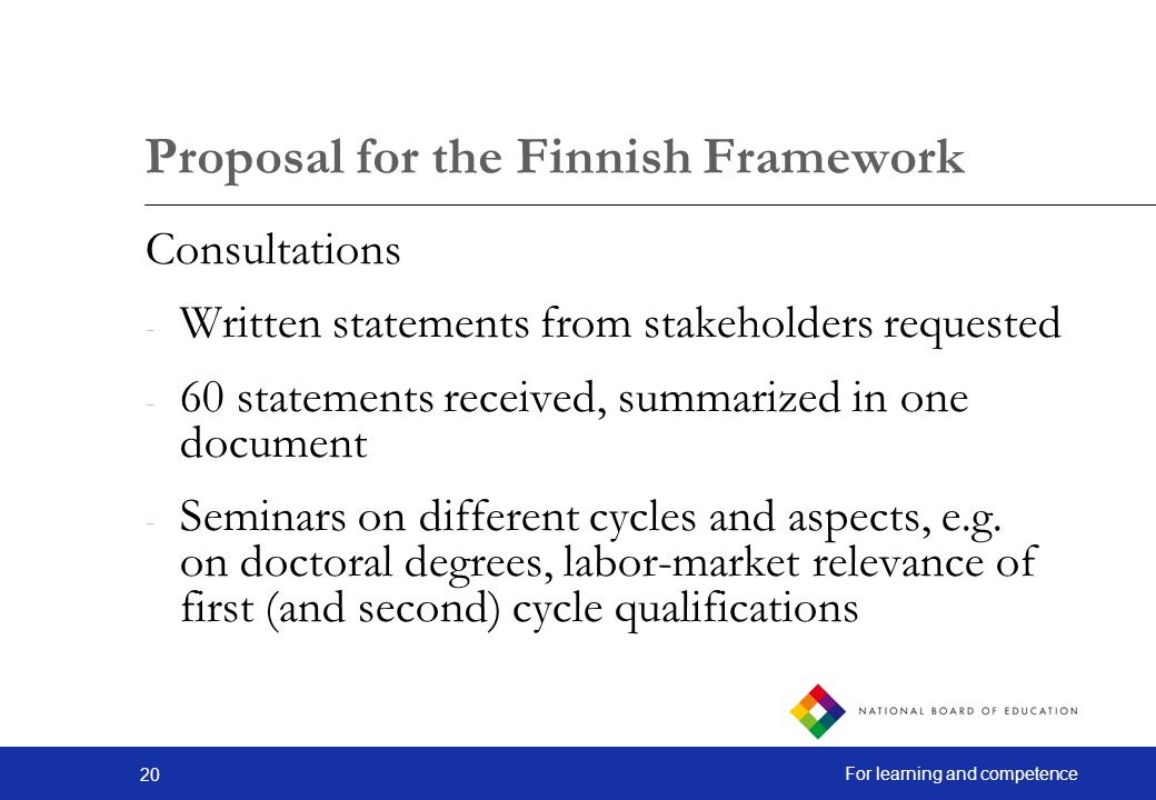 Proposal for the Finnish Framework