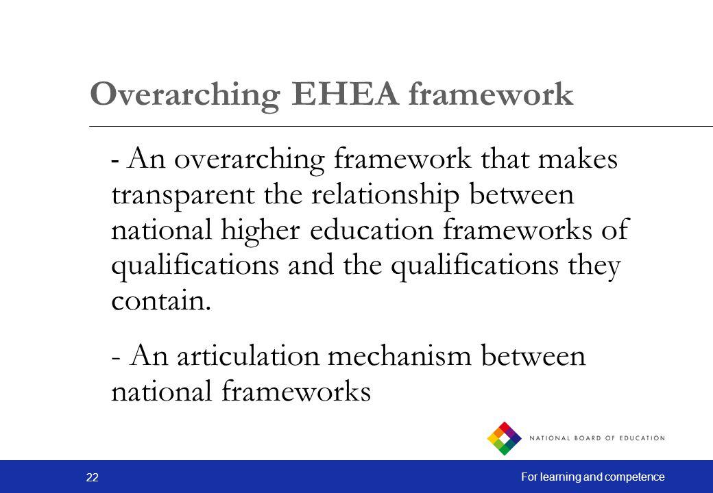 Overarching EHEA framework