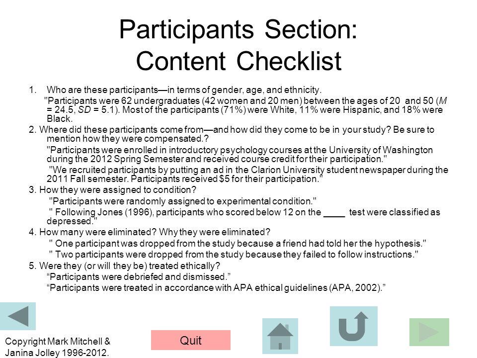 Participants Section: Content Checklist