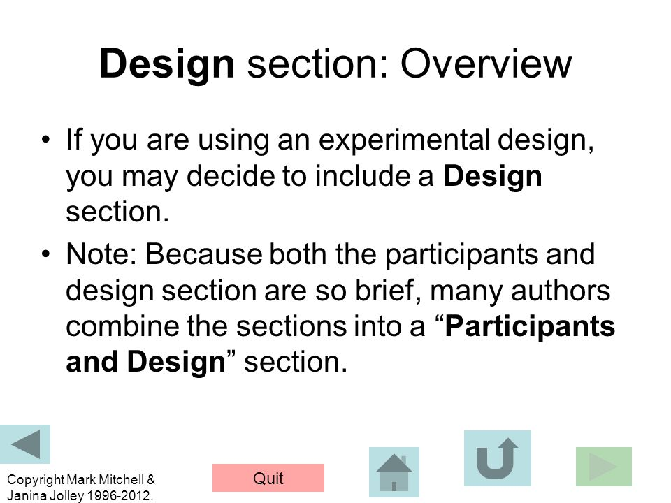 Design section: Overview