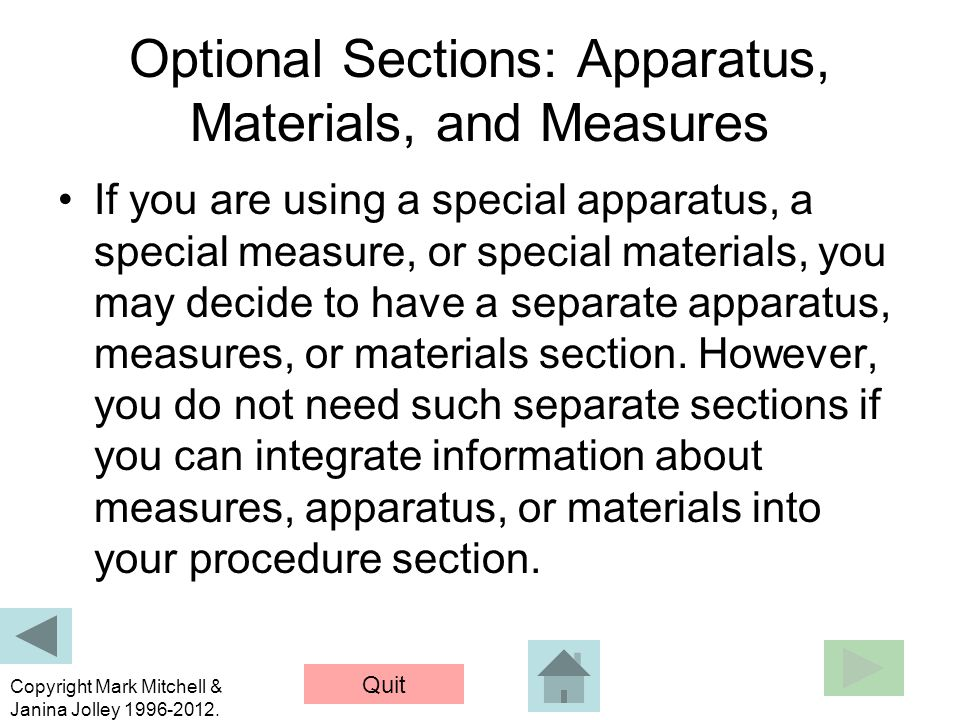Optional Sections: Apparatus, Materials, and Measures