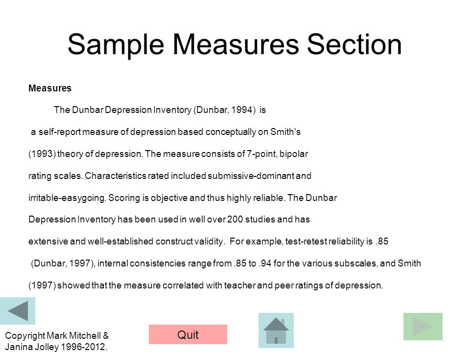 Sample Measures Section