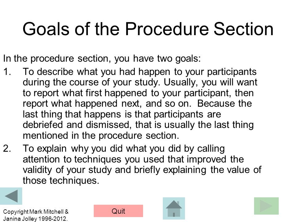Goals of the Procedure Section