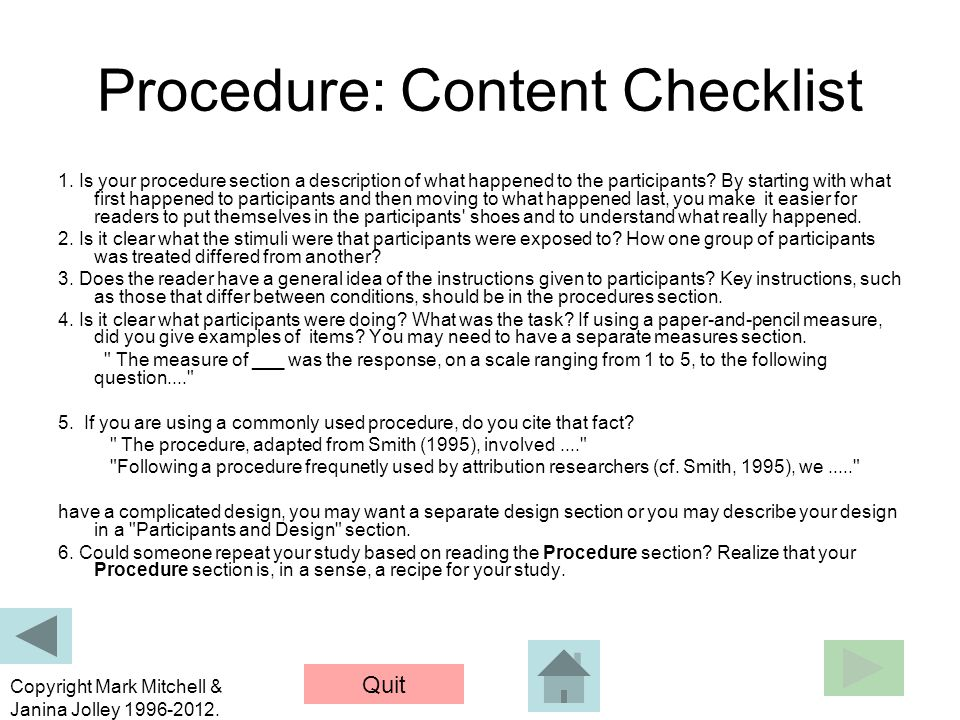 Procedure: Content Checklist