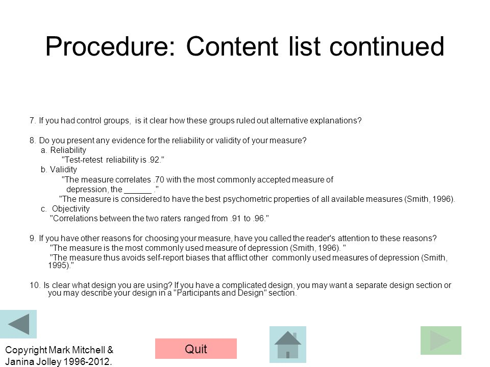 Procedure: Content list continued