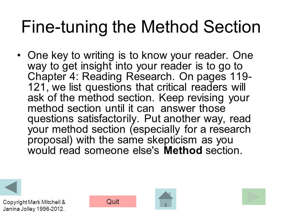 Fine-tuning the Method Section