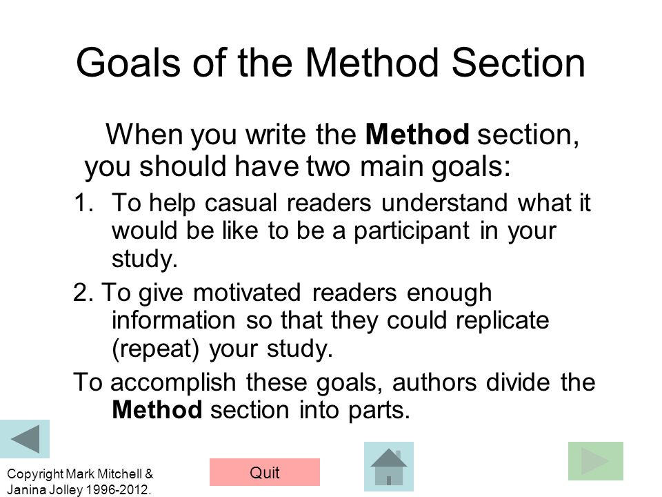 Goals of the Method Section