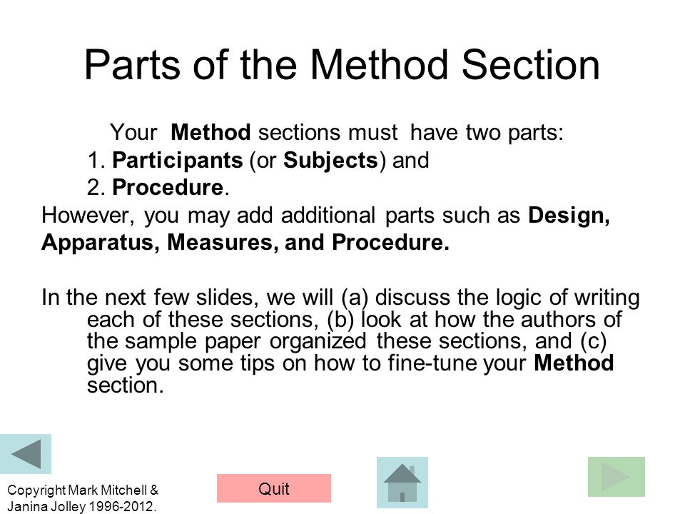 Parts of the Method Section