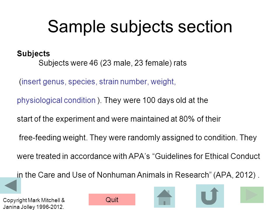 Sample subjects section