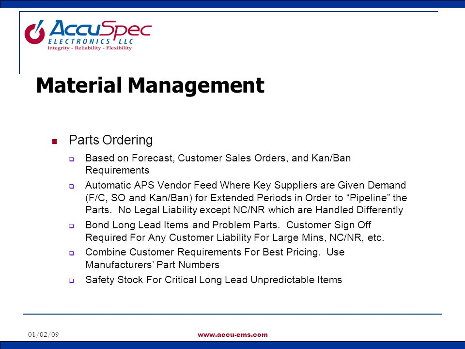 Material Management Parts Ordering