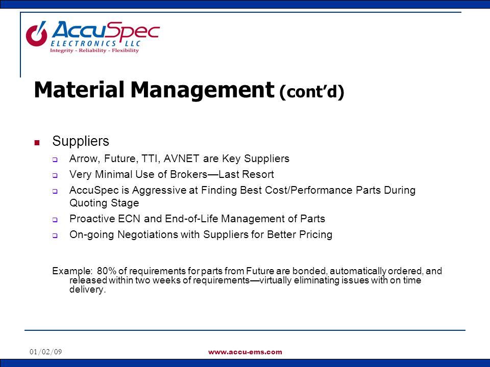 Material Management (cont'd)