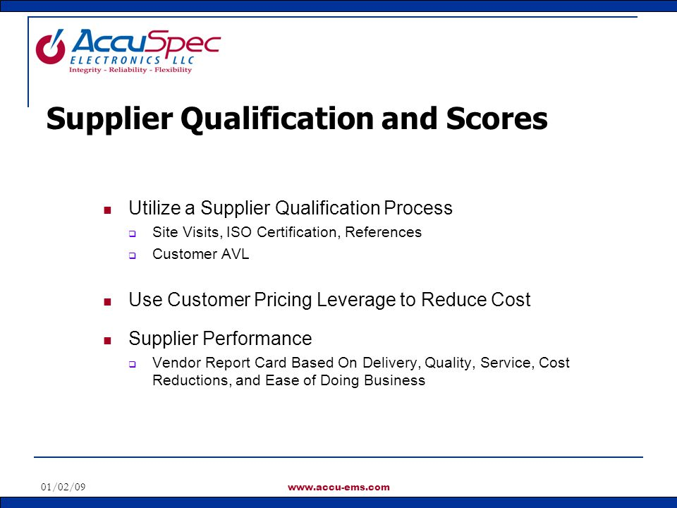 Supplier Qualification and Scores