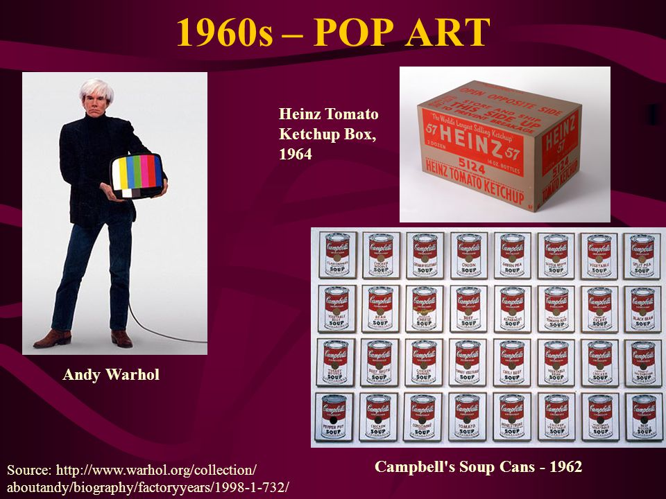 1960s – POP ART Heinz Tomato Ketchup Box, 1964 Andy Warhol