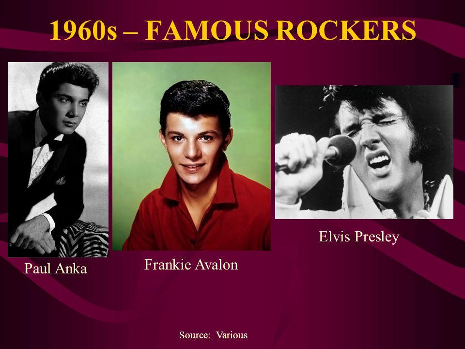 1960s – FAMOUS ROCKERS Elvis Presley Frankie Avalon Paul Anka