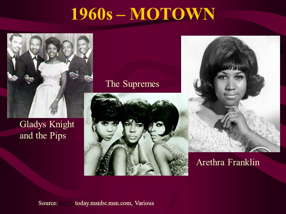 1960s – MOTOWN The Supremes Gladys Knight and the Pips