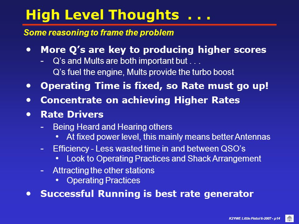 High Level Thoughts . . . More Q's are key to producing higher scores