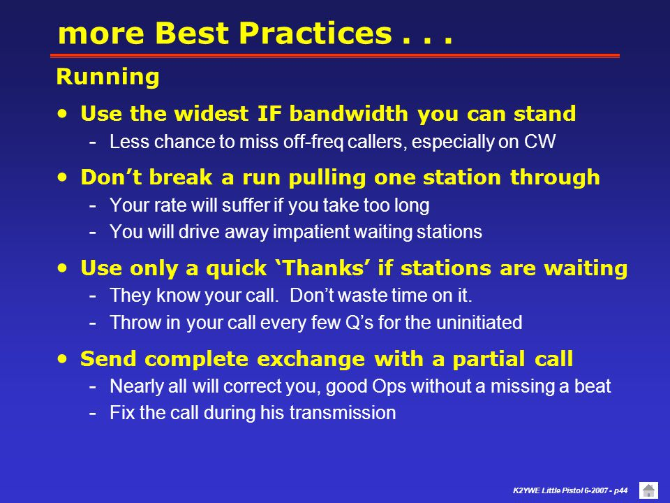 more Best Practices . . . Running