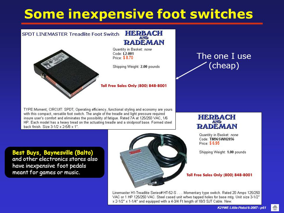 Some inexpensive foot switches