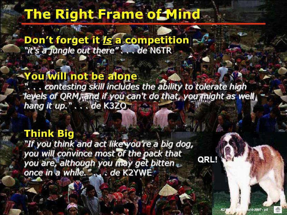 The Right Frame of Mind Don't forget it is a competition