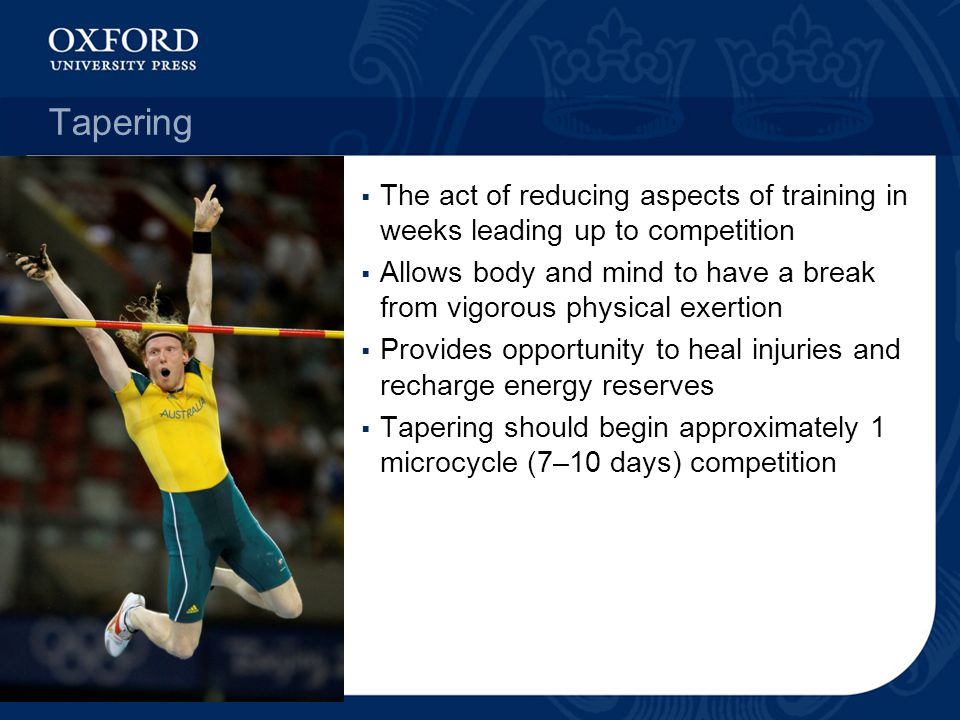 Tapering The act of reducing aspects of training in weeks leading up to competition.