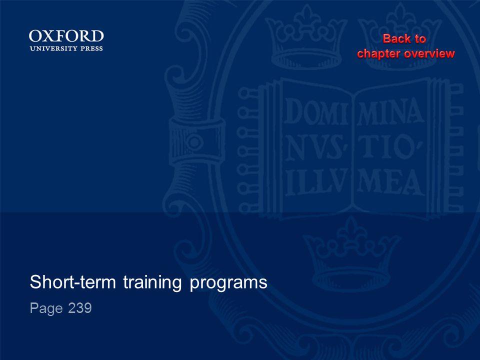 Short-term training programs