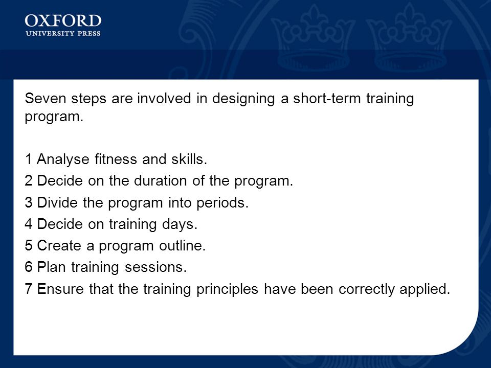 Seven steps are involved in designing a short-term training program