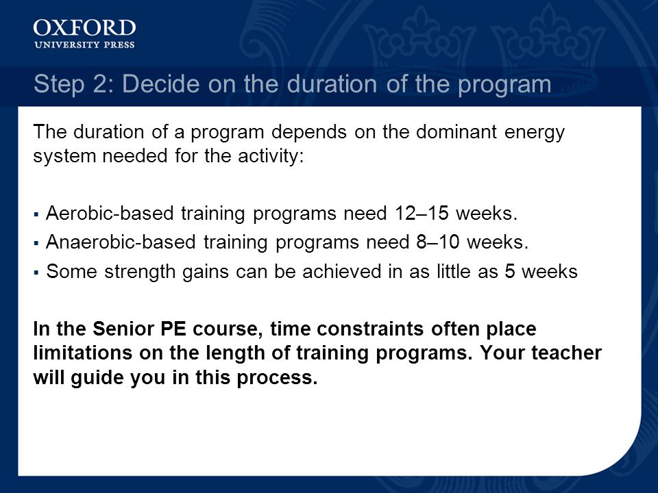 Step 2: Decide on the duration of the program