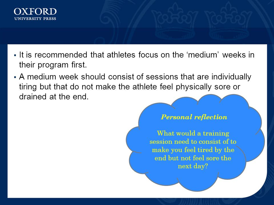 It is recommended that athletes focus on the 'medium' weeks in their program first.