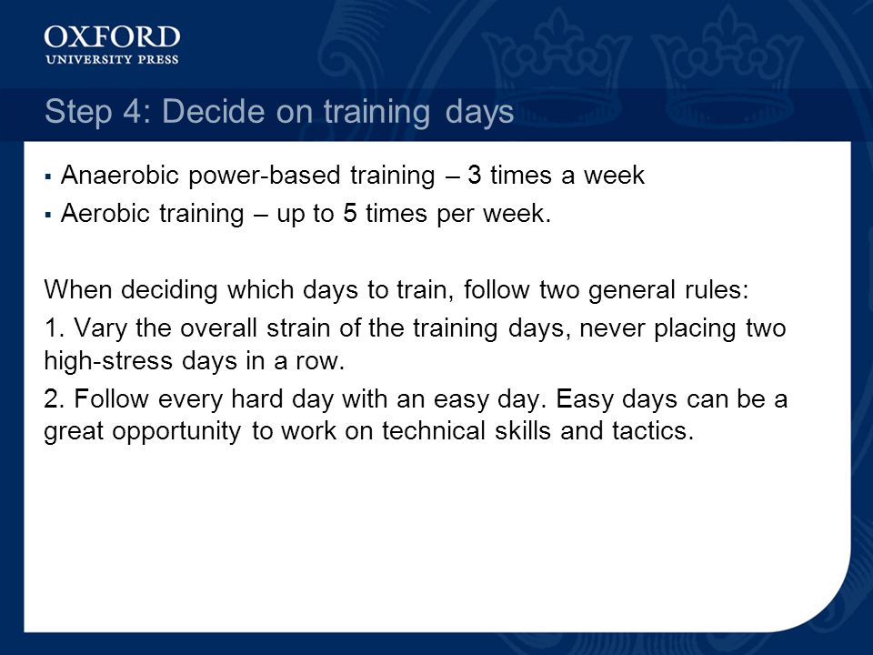 Step 4: Decide on training days