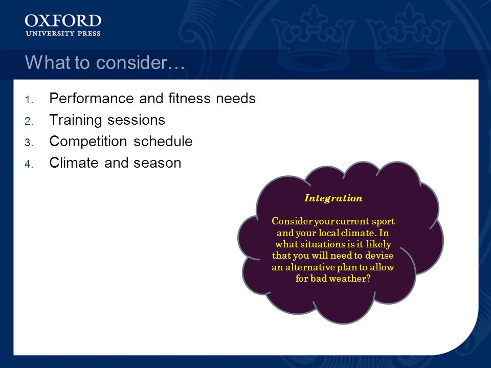 What to consider… Performance and fitness needs Training sessions